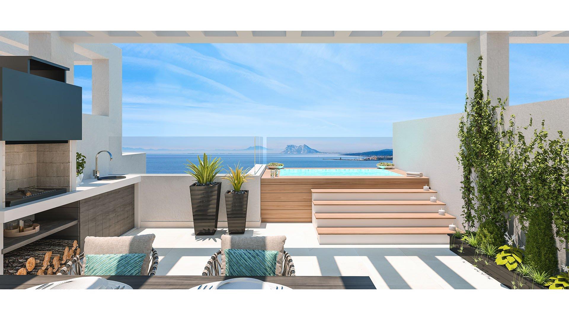 Golden View 1: Attractieve townhouses met prachtig uitzicht op de zee en Gibraltar